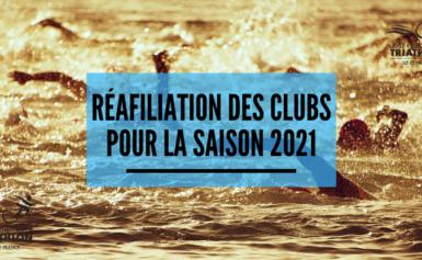 réafiliation clubs pour la saison 2021